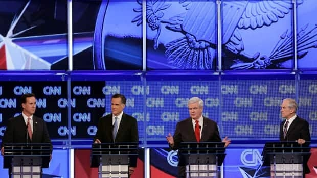 Republicans hoping to snare the party's nomination for the presidency squared off in Charleston, S.C., on Thursday night. From left: Rick Santorum, Mitt Romney, Newt Gingrich and Ron Paul.