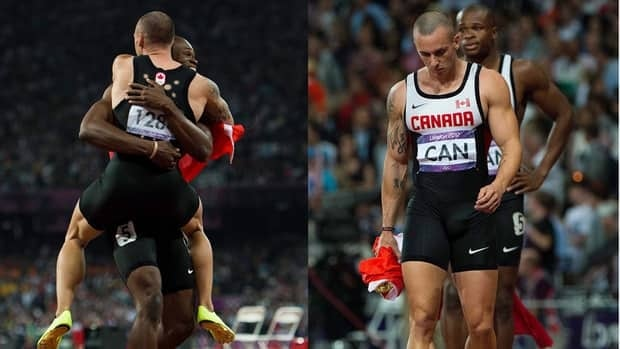 Canada's Jared Connaughton, front left, celebrates an apparent bronze medal with teammate Oluseyi Smith following the men's 4x100-metre relay event on Saturday. Moments later, Connaughton, right, stands in disbelief after he was disqualified for stepping on his lane line.