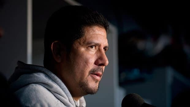 Anthony Calvillo addresses reporters Monday, 24 hours after Montreal lost at home in the playoffs for the second consecutive year.