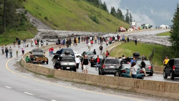 Traffic on Highway 1 near Banff was severely backed up after a mudslide hit the area on Friday afternoon.