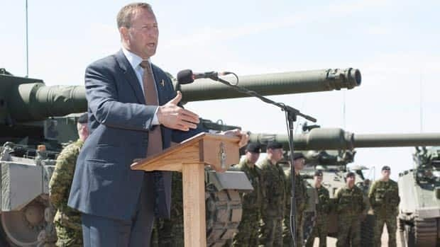 Defence Minister Peter MacKay announces the new Canadian Forces Leopard 2A4 tank at CFB Gagetown in Oromocto, N.B., on Thursday, September 13.