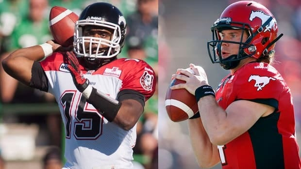 Calgary Stampeders quarterbacks Kevin Glenn, left, and Drew Tate may have both gotten into last week's season finale against the Edmonton Eskimos, but only one will get the nod against Saskatchewan this weekend.