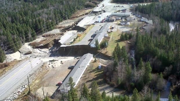 Parts of Highway 17 were washed out from torrential rains near Wawa.