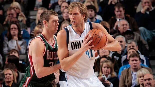 Dirk Nowitzki of the Dallas Mavericks, right, posts up against Jon Leuer of the Milwaukee Bucks on January 13, 2012 at the American Airlines Center in Dallas, Texas.