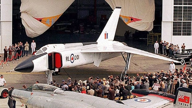 The federal government should consider bringing back the Avro Arrow CF-105, which was first designed in the 1950s, says retired major-general Lewis MacKenzie. Here, a replica of the Avro Arrow is rolled out of a hangar during filming of a 1996 movie about the aircraft. Joe Bryksa/Canadian Press