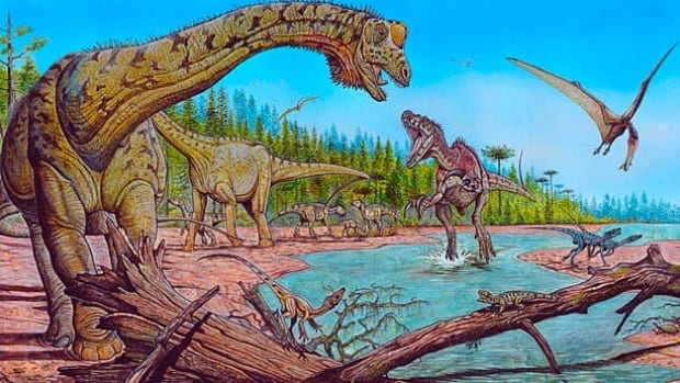 A four-tonne titanosaur like the long-necked giant on the left of this artist's impression would have been about the size of a rabbit when it first hatched or roughly 2,500 times smaller than its parents.
