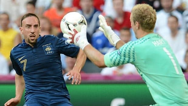 English goalkeeper Joe Hart, left, faces French midfielder Franck Ribery in Monday's Euro 2012 match at the Donbass Arena in Donetsk, Ukraine.