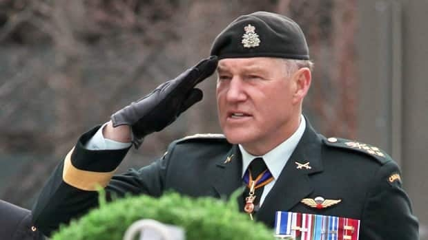 Chief of the Defence Staff Gen. Walter Natynczyk salutes at a wreath-laying ceremony at the National War Memorial to commemorate the 95th anniversary of the Battle of Vimy Ridge in Ottawa on Monday. While there, Natynczyk gave the controversial F-35 stealth fighter jet a vote of confidence.