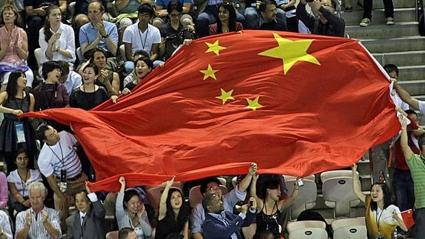 Chinese fans are everywhere at the London Olympics, including the Aquatic Centre.