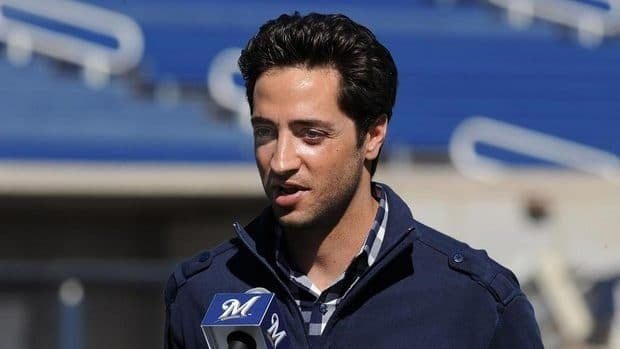 Ryan Braun of the Milwaukee Brewers talks to the media prior to spring workouts at Maryvale Baseball Park on February 24, 2012 in Phoenix, Arizona.
