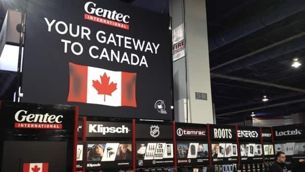 Toronto-based accessories firm Gentec used its booth at this year's International Consumer Electronics Show in Las Vegas to promote itself as a gateway for companies into the Canadian market. Peter Nowak/CBC