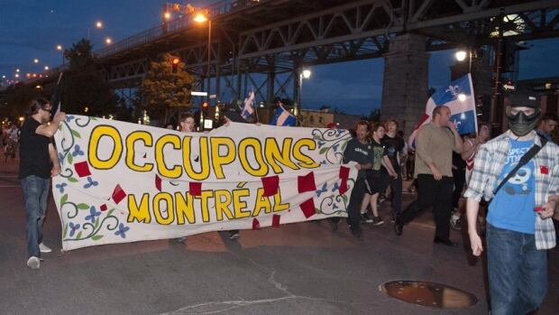 Protesters from Alberta join Quebec student protesters in Montreal on Monday.