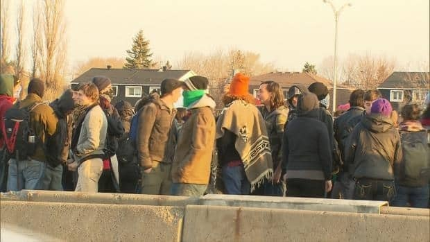 About 200 students blocked traffic on a major Montreal bridge on Tuesday morning.