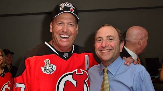 New York Jets head coach Rex Ryan and NHL Commissioner Gary Bettmen attend Game 2 of the Stanley Cup final on Saturday in Newark, New Jersey.