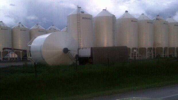 High winds did damage all over central Alberta, including blowing down large tanks near Onoway. (Darcy Johnstone)