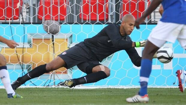 Tim Howard (1) of USA makes a save against Canada during their international friendly match on Sunday at BMO Field in Toronto.