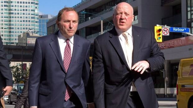 NHL commissioner Gary Bettman, left, arrives with deputy commissioner Bill Daly for collective bargaining talks last month in Toronto.