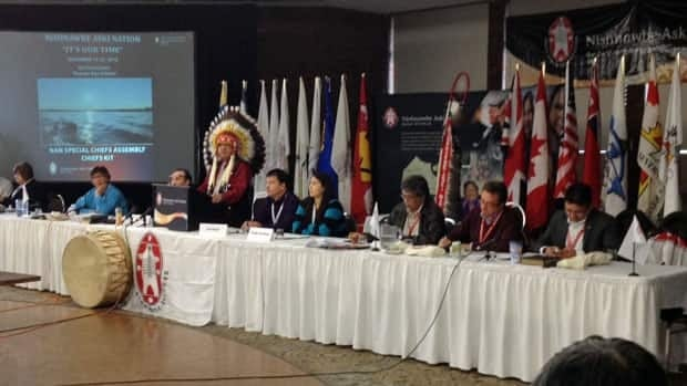 Grand Chief Harvey Yesno sets a new nation-building agenda at the Nishnawbe Aski Nation chiefs' meeting in Thunder Bay Nov. 13. NAN and other First Nation organizations are facing huge federal funding cuts.