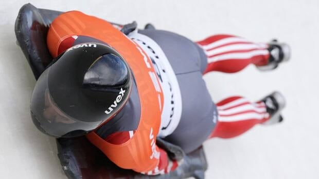 Canada's Sarah Reid takes her second heat in the women's skeleton World Cup competition on Thursday.