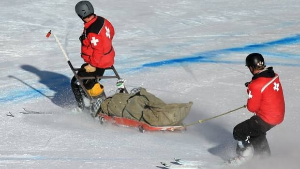 Max Franz is evacuated on a stretcher following a crash in the men's super-G last Saturday.