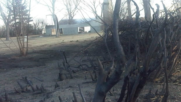 A farm near Nanton suffered extensive damage in the fire on Wednesday.