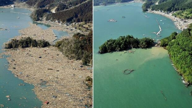 Two photos show the same coast in northeastern Japan on March 12, 2011, before and after a devastating earthquake and tsunami hit the area.
