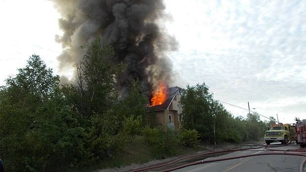 The Anglican church in Lynn Lake burns on Monday.