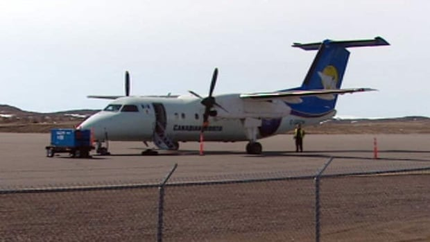 A Canadian North Dash-8 is shown in this file photo. A Canadian North Dash-8  travelling to Taloyoak, Nunavut, from Kugaaruk on Monday had to declare an emergency when one of its two engines failed.