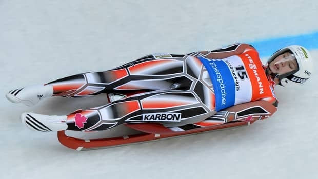 Alex Gough from Canada speeds down the course during her first run at the women's luge World Cup race in Innsbruck Igls, Austria, on Saturday. Gough picked up a third place finish in the season-opening competition.