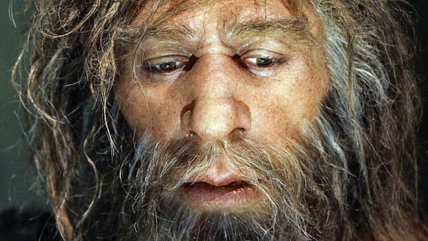 The reconstructed face of a Neanderthal male is displayed in a cave in the new Neanderthal Museum in Krapina, Croatia. Neanderthals went extinct by 39,000 years ago, about 4,000 years after modern humans arrived in Europe.