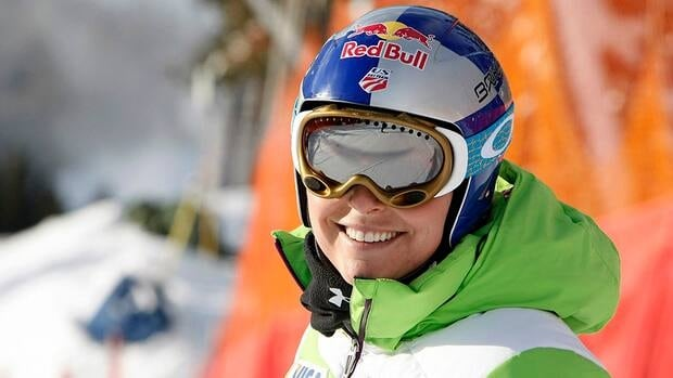 Lindsey Vonn of the USA competes during the Audi FIS Alpine Ski World Cup Women's Downhill in Lake Louise, Canada.