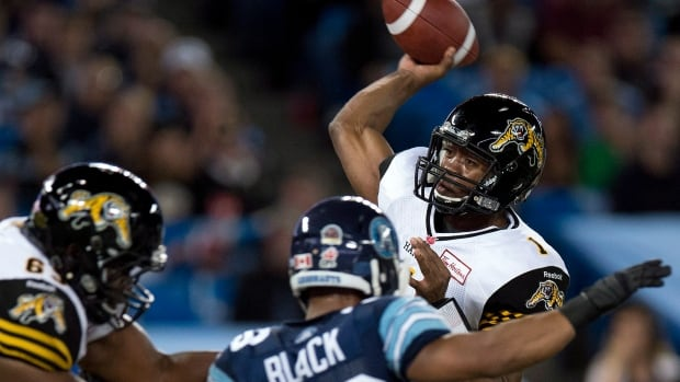 Hamilton Tiger-Cats quarterback Henry Burris throws a pass against the Toronto Argonauts during the first half Friday.