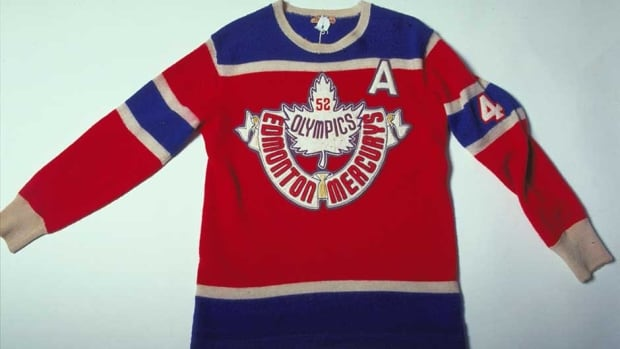 The Edmonton Mercurys represented Team Canada at the 1952 Olympics in Oslo, Norway, winning gold. The blue and white sweaters were made mostly of wool.