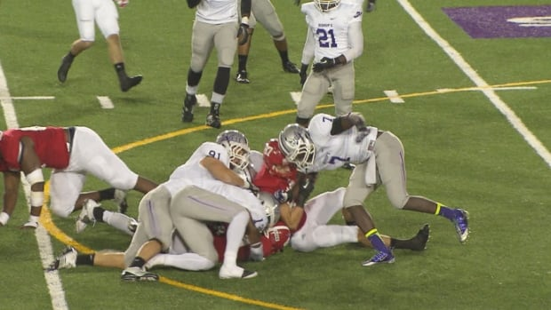 Joe Fortin, No. 20 for the Bishop's University Gaiters, suffered a neck injury Friday night.