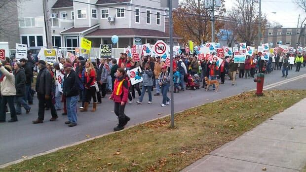 Protests were springing up across the province in 2011 to the shale gas industry. A political assistant to the province's energy minister requested NB Power remove all anti-shale gas signs from its power poles. (Matt McCann/CBC)
