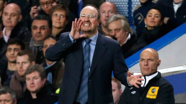 On his first game in charge of the club Chelsea's interim head coach Rafael Benitez, shouts during the EPL game against Manchester City at Stamford Bridge in London on Sunday.