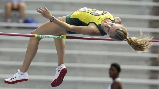Oregon's Brianne Theisen in the high jump portion of the heptathlon at the NCAA outdoor track and field championships. The Saskatchewan native won the heptathlon going away.