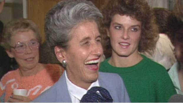 Sue Higgins, a former Calgary alderman, is shown celebrating a re-election in 1986 after losing her seat in a failed bid for mayor.