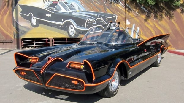 The Batmobile, seen in Los Angeles in October, was Batman's original ride from the 1960s TV series. It will be auctioned in January.