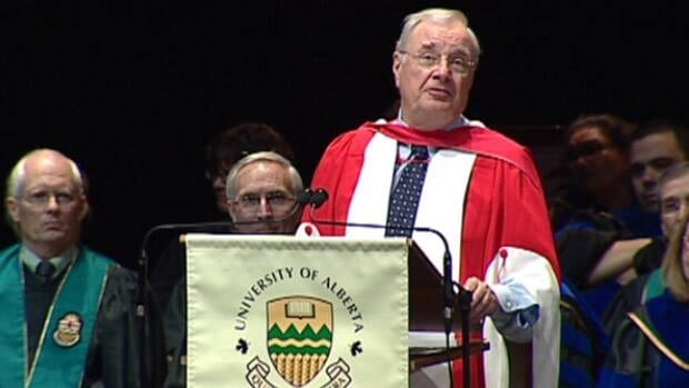 Former Prime Minister Paul Martin was given an honorary doctorate of laws from the University of Alberta on Monday.