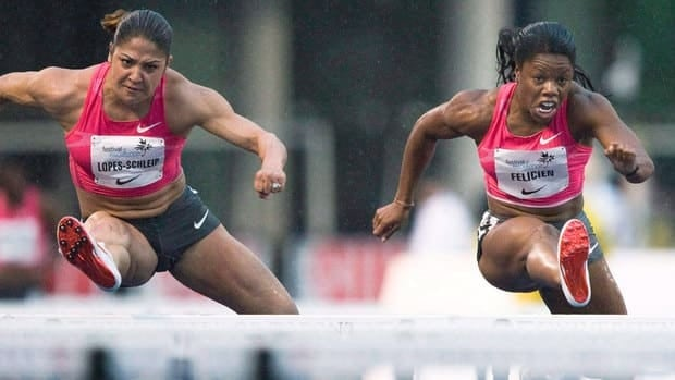 Priscilla Lopes-Schliep, left, and Perdita Felicien are among the five athletes competing for three Olympic spots in the highly anticipated women's 100-metre hurdles event.