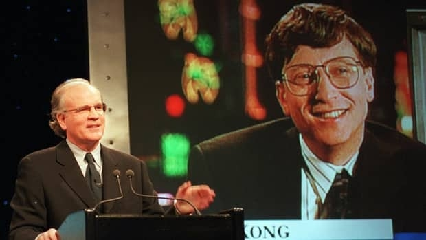 Robert Wright, then the president and CEO of NBC, and Microsoft chairman Bill Gates, announce the 1995 formation of a joint venture to start a cable news channel and related online service called MSNBC. The 16-year-old venture ended Sunday.