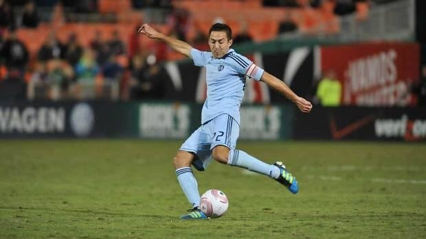 Davy Arnaud #22 of Sporting Kansas City dribbles the ball during the game against D.C. United at RFK Stadium. Sporting Kansas City defeated D.C United 1-0.