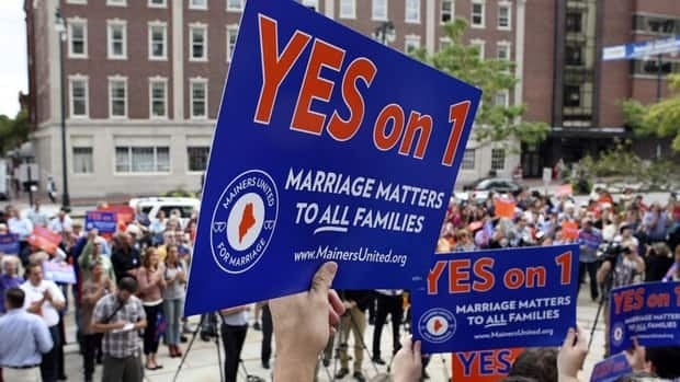 Gay rights advocates gather in Portland, Maine, a state in which the 2012 U.S. election ballot asked voters whether they supported the legalization of same-sex marriage.