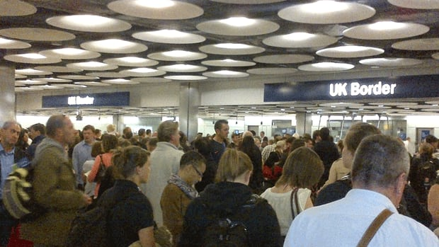 The Public and Commercial Services union blames government cutbacks for the long lineups at airports.