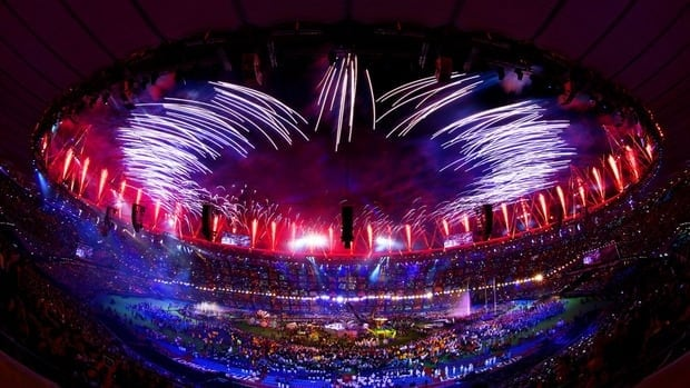 Fireworks light up the Olympic Stadium during the closing ceremony of the 2012 London Paralympic Games Sunday.