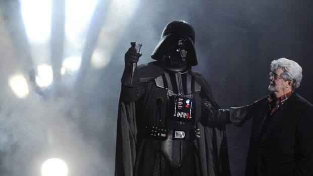 Darth Vader accepts the Ultimate Villain award from Star Wars creator George Lucas during the 2011 Scream Awards in Los Angeles. Vader was foiled in the original Star Wars movie when the Death Star was destroyed. Petitioners to the White House seek the building of a new doomsday space weapon.