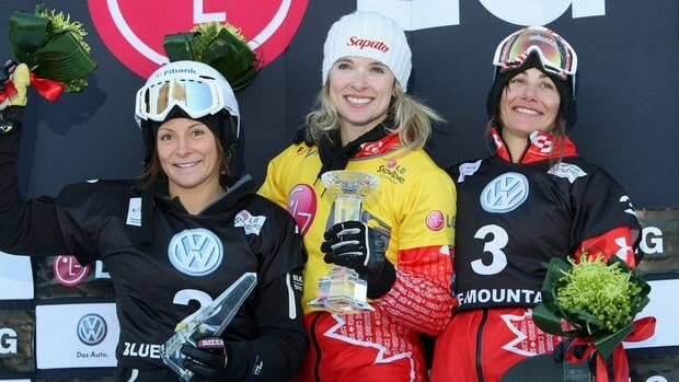 Canadians Dominique Maltais, centre, and Maelle Ricker, right, earned gold and bronze medals, respectively, Wednesday in snowboard cross at the Blue Mountain resort in Collingwood, Ont.
