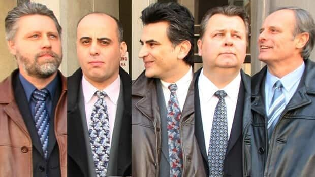 The jury trial of five former members of the Toronto Police Service drug squad begins Monday. From left to right are Ray Pollard, Steven Correia, Ned Maodus, Joe Miched and John Schertzer.
