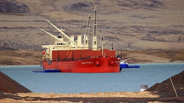 The Federal Franklin, a ship on longterm charter to Fednav, takes part in a bulk sample operation in Milne Inlet, on the north end of Baffin Island, in August 2008. Fednav carried about 130,000 tonnes of cargo to Europe as a sample shipment for Baffinland Iron Mines Corporation, which is proposing a massive open-pit iron mine at Mary River.